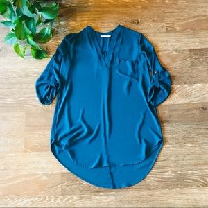 Lush like-new flowy high low blouse in teal
